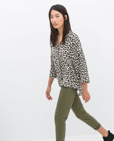Image 2 of OVERSIZE ANIMAL PRINT BLOUSE from Zara