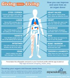 mysendoff:    Infographic: How being an organ, eye, and tissue donor can help improve and even save the lives of others.  The official Giving Means Living Facebook app located here: http://apps.facebook.com/giving_means_living