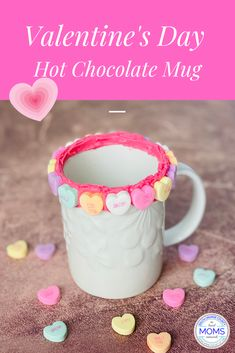 Who is excited for Valentine's Day? This easy Valentine's Hot Chocolate mug is perfect for the kids or your honey. Sure to be a crowd-pleaser at play dates, Valentine's Day parties and at home with the family. Valentines Date Ideas, Friends Valentines Day, Valentine Day Love, Valentines Day Party, Hot Chocolate Mug, Heart Day, All Holidays, Toddler Crafts, Special Day