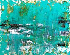 Sea Rain -Abstract Painting Turquoise Blue Ocean Water Seascape Beach Waves Nature, Etsy, $55.00