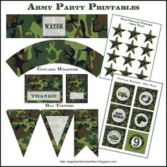 5 Best Images of Army Party Printables - Army Birthday Party Free Printables, Army Birthday Party Free Printables and Army Birthday Party Printables Army Themed Birthday, Army Birthday Parties, Army's Birthday, Birthday Party Themes, Birthday Ideas, Camouflage Party, Camo Party, Army Camouflage, Army Decor