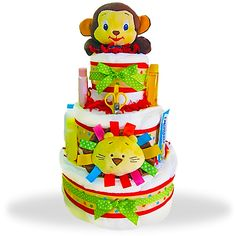 Jungle Jamboree 3-Tiered Diaper Cake Price: $89.00 #GiftBaskets4Baby #Girl #gifts #giftbaskets #Baby For more information visit: www.GiftBaskets4Baby.com