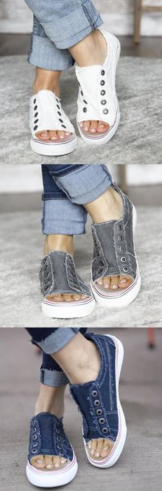 SHOP NOW>>$39.99 SALE!Sports Distressed Canvas Summer Rivet Sneakers Sock Shoes, Cute Shoes, Me Too Shoes, Shoe Boots, Denim Fashion, Fashion Boots, Womens Fashion, Casual Heels, Summer Shoes