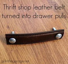 Turn a thrift shop leather belt into furniture drawer pulls! We never cease to…