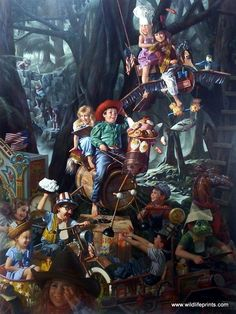 In Bob Byerley's prpint THE LAUGHING PLACE the neighborhood children have found a place in the woods where they can let their imaginations run wild. Household items and junk become horses, giant birds