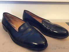 74e60a2bba (eBay Sponsored) TESTONI Tuxedo Loafers Bespoke Black Leather ITALY Slip On  Mens Size 10