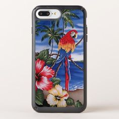 Colorful Macaws Hawaiian Beach Summer Scene Speck iPhone Case - animal gift ideas animals and pets diy customize