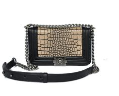 Chanel Flap Bag Alligator Apricot Black Shoulder Strap Perfect present 4143b10316