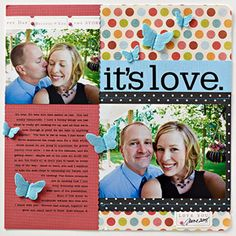 Adult scrapbook page with stitching and sewing techniques; beginner scrapbooking {SBE}