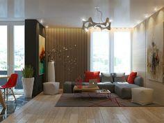 mur d'accent dans le salon: lambris mural en lamelles de bois clair