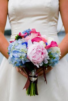 pink blue and white bouquet