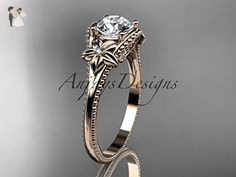 14k rose gold diamond unique engagement ring ADLR375 - Wedding and engagement rings (*Amazon Partner-Link)