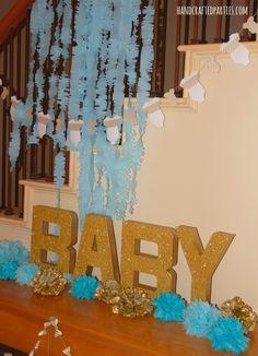 Baby shower decor tutorials: fringed streamers // glitter letter sign // onesie + bowtie garlands // tissue pom flowers {Handcrafted Parties}