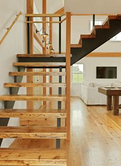 Steel And Reclaimed Wood Stairs Transitional Staircase Burlington Conner Buck