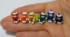 Sock Monkey Half Inch Miniature Rainbow Collection MADE To ORDER in Polymer Clay by MagicByLeah