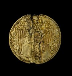 Bulla; gold; of Thomas, Despot of Epiros (1296-1318) of the dynasty of Angelos; obverse: the archangel Michael, full-length, in imperial costume, a sceptre in his right hand and an orb in his left, each surmounted by a patriarchal cross; inscribed; reverse: the despot, full-length, in imperial costume, a sceptre in his right hand and the anexikakia in his left; above left, the hand of God, blessing; inscribed in the field 1313-1318