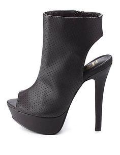 Perforated Slingback Peep Toe Booties #CharlotteRusse #CRFashionista #slingback