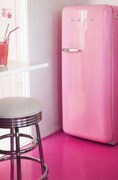 Pink Fridge and floor
