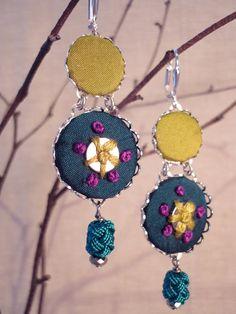 Beaded fabric drop earrings
