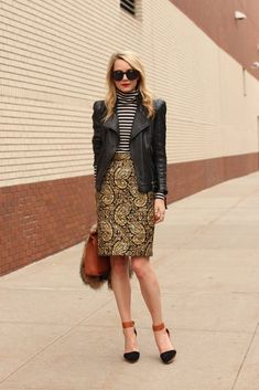 quilted skirt with leather jacket