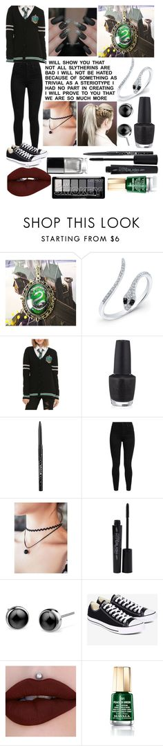 """Slytherin Pride"" by theimperfect-perfection ❤ liked on Polyvore featuring Anne Sisteron, Warner Bros., OPI, Stila, Levi's, Smashbox, Converse, Mavala, Chanel and harrypotter"