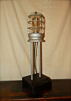 Repurposed Crouse Hinds Industrial Cage Table Lamp - Steampunk - Machine Age - 1930s. $199.00, via Etsy.