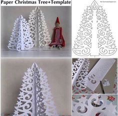 White card diy Christmas tree craft