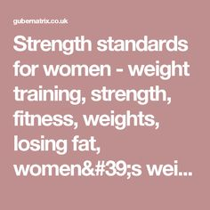 Strength standards for women - weight training, strength, fitness, weights, losing fat, women's weight training, bodyweight, free weights, powerlifting, dumbbells, barbells, kettlebells, bodybuilding, olympic weightlifting