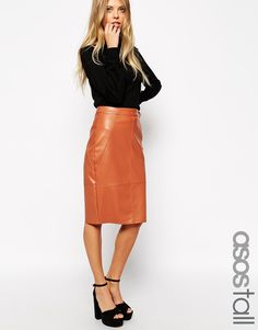 ASOS TALL Pencil Skirt in Leather Look $30