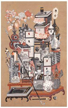 대한민국민화공모대전 - 이미연 - 책가도 Korean Painting, Chinese Painting, Chinese Art, Korean Art, Asian Art, Creative Pictures, Creative Art, Japanese Artwork, 3 Arts