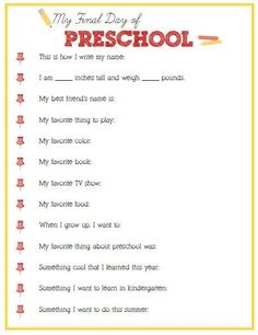 Final Day of Preschool Interview - Click image or link to download - Positively Splendid {Crafts, Sewing, Recipes and Home Decor}: