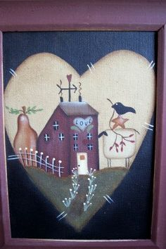 Primitive Valentine Heart Saltbox Canvas by Primgal on Etsy
