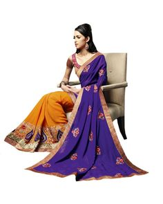 Violet Lace Work Saree  Check out all the details of this product here: http://www.ethnicstation.com/violet-lace-work-saree-vl1708  #LaceWorkSaree  #OnlineShopping