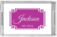 Personalized Lucite Tray Monogrammed Acrylic Tray by Pink Wasabi Ink