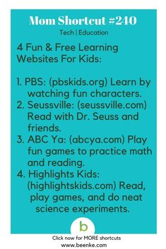 mom hacks Tech and Education Shortcuts Free learning websites for kids! Get your daily source of awesome life hacks and parenting tips! CLICK NOW to discover more Mom Hacks. Learning Websites For Kids, Kids Learning, Learning Tools, Early Learning, Kids And Parenting, Parenting Hacks, Parenting Quotes, Highlights Kids, Never Stop Learning