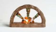 Waldorf inspired wooden candle holder  Sea by CraftyWorksCornwall
