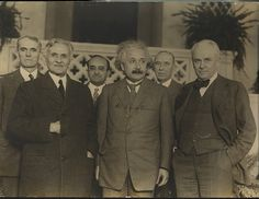 Three Nobel Prize winners: Einstein, Millikan & Michelson 1931  Front row: A. A. Michelson, Albert Einstein, Robert A. Millikan; back row: Walter S. Adams, Walther Mayer, Max Ferrrand. Photo was taken in front of the Athenaeum, Caltech - by Smithsonian Institution, via Flickr