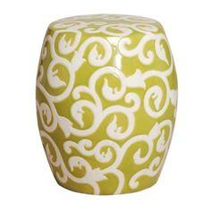 Green Apple Ceramic Garden Stool With White Vine Design
