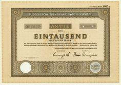 HWPH AG - Historische Wertpapiere - Süddeutsche Zucker AG / Mannheim, Januar 1968, Specimen einer Aktie über 1.000 DM, o. Nr.