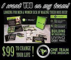 Have you been looking for a work from home opportunity? . I love helping other moms (and anyone) find legit work at home opportunities. I recently launched my ItWorks business and truly believe in this company...ItWorks is dedicated to helping it's distributors get out of debt and have financial freedom to enjoy their families. PM me for more info. And, if you join my team this month...you will be eligible for the G.O.O.D. (get out of debt) bonus. http://www.awrapintime.com/