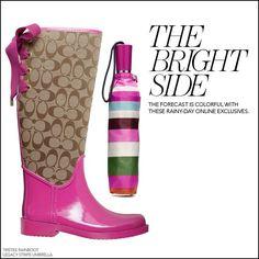 coach boots | Coach Tristee Khaki / Chestnut Rain Boots by Coach ...