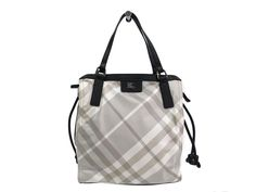 #Burberry Hand bag Nylon/Leather White/Black (BF099299). #eLADY global offers free shipping worldwide. For more pre-owned luxury brand items, visit http://global.elady.com