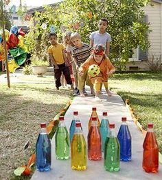 Bowling with drinks bottles - outdoor games - cheap summer fun - summer holiday ideas