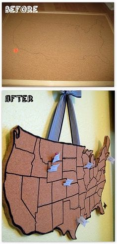 A cork board map to show where your residents come from! Or just use this idea to make a unique cork board! Map Crafts, Crafts To Do, Crafts For Kids, Arts And Crafts, Corkboard Crafts, Corkboard Ideas, Cork Board Map, Cork Map, Gift Ideas
