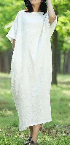 Unique o neck wild cotton tunic dress Runway white Robe Dresses summer Cotton Tunics, Cotton Linen, Cotton Dresses, Summer Maxi, Summer Dresses, White Linen Dresses, Oversized Dress, Plus Size Dresses, Runway