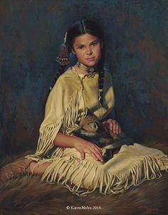 """Sacred Ties"" Original Oil X -Western and Native American Fine Art by Karen Noles Native American Children, Native American Pictures, Native American Wisdom, Native American Beauty, American Indian Art, American Indians, Native American Paintings, Wow Art, Native Art"