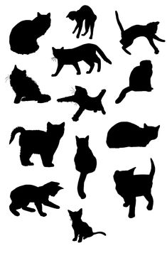 free CATS ~ KLDezign les SVG: Des chats Use to make stencils for giftwrap; cut one out and put it on the top of a package; cut one out and use it as an outline, repeated all over the paper. Cat lovers would appreciate it. #CatSilhouette
