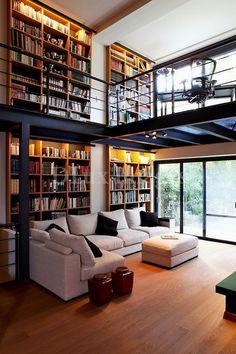 Home Interior Design — modern contemporary living room with mezzanine (. Home Library Design, Loft Design, House Design, Modern Library, Library Ideas, Library Room, Garden Design, Dream Library, Design Homes