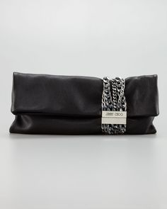 1eec7f62c8 Chandra Chain Leather Clutch Bag - Jimmy Choo (Chain Gang Clutch Foldover  Leather Black Silver
