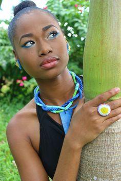 Blue Rope Suede & Leather Mixed Media Necklace- Yemoya Necklace
